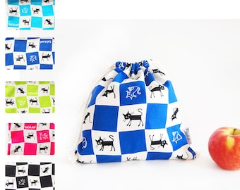 Small Drawstring Bag - Checkered Cats (Choose Your Color!)