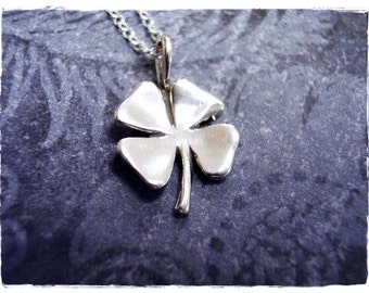 Silver Four Leaf Clover Necklace - Sterling Silver Four Leaf Clover Charm on a Delicate Sterling Silver Cable Chain or Charm Only