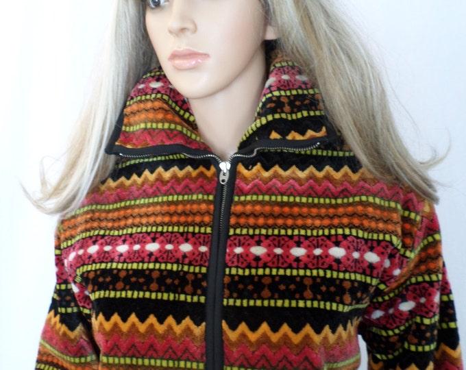 Vintage 1960's Women's VaL HuGheS VeLvet CheNiLLe TaPeStreY HiPPiE BoHo SKi Coat Jacket M L