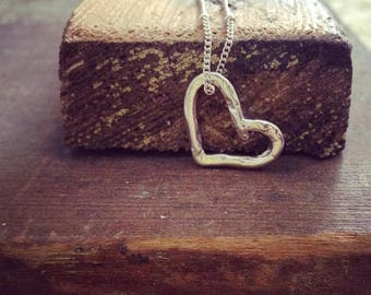 Sterling Silver Heart Necklace, Heart Necklace, Love Necklace, Mother Daughter Sister Gift