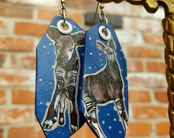 Okapi hand-painted animal earrings - Blue