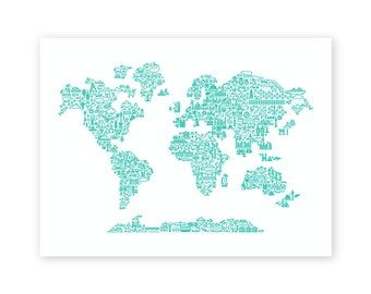 Map of the World Screen Print 18x24""