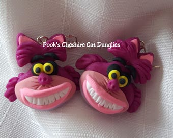 Cheshire Cat Dangly Earrings, Cheshire Cat, Alice in Wonderland