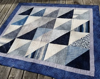 Blue gray throw quilt for men celestial blanket twin boys gift Nocturne fabric eclipse constellation clouds orbits galaxy moon phases stars