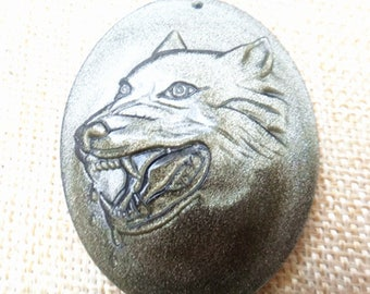 Natural Gold obsidian Wolf Totem Pendant