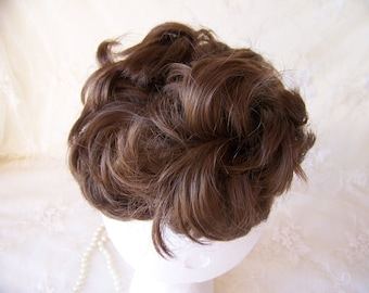 Vintage Curly Brown Hair Piece.Bun Extensions.Curly Messy Hair Band.Vintage Hair Wigs.Wigs for Ladies.Curly Brown Wigs.Bun Hair Piece.Wigs.