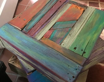 Pallet Wood End Table - Up-Cycled - The Triple Decker - Eclectic-Rustic- Colorful