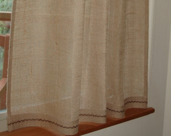 Rustic, chic Burlap cafe curtain panel in natural burlap with hand embroidered hem.Custom color embroidery. Custom sizes available.