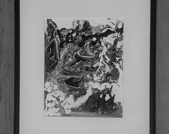 Original acrylic painting black white