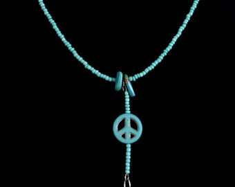 Cannabis & peace sign in turquoise.