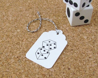 Dice Stamped White Gift Tags set of 24 with Black and White Bakers Twine, Vegas Tag, Swing Tag, Hang Tag