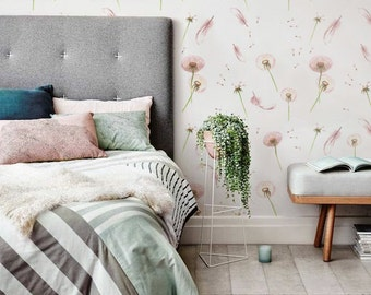 Dandelion and Feather Pattern Wallpaper, Nursery Wallpaper, Removable Wallpaper, Dandelion Decal, 126