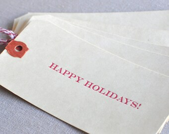 Happy Holidays Letterpress Gift Card Tags Set