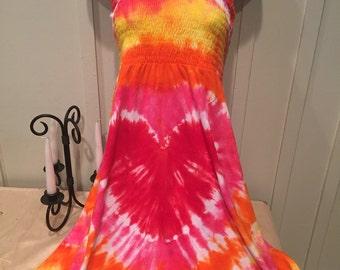 Tye dye dress, Women's smocked sundress, tie dyed womens smocked sundress, heart sundress, hand dyed womens sundress