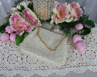 Vintage Mid-Century White Beaded Evening Bag,Vintage Handbags,Antique Purse,Victorian Purse,Clutches,Beaded Handbag,Dinner Purse