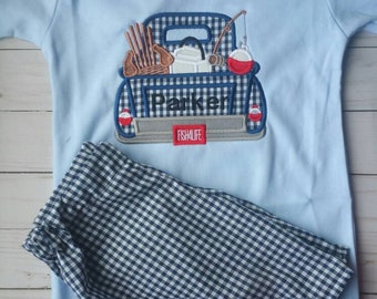 Boy fishing outfit - gingham shorts - boys shorts - fishing outfit