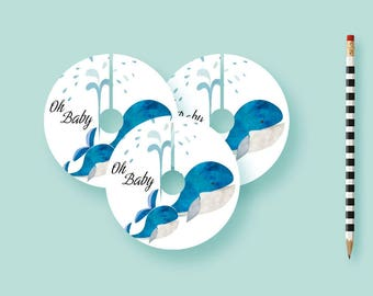 Watercolor Whale Shower Wine Tags, Baby Shower Decor, Baby Shower Decorations Printable, Printed Wine Tags, Water, Table Decorations