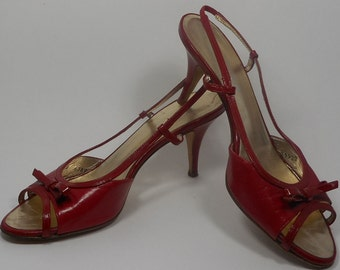 ESCADA Vintage Shoes 8 Red Slingback Heels Pumps Sandals Bow Lipstick Leather
