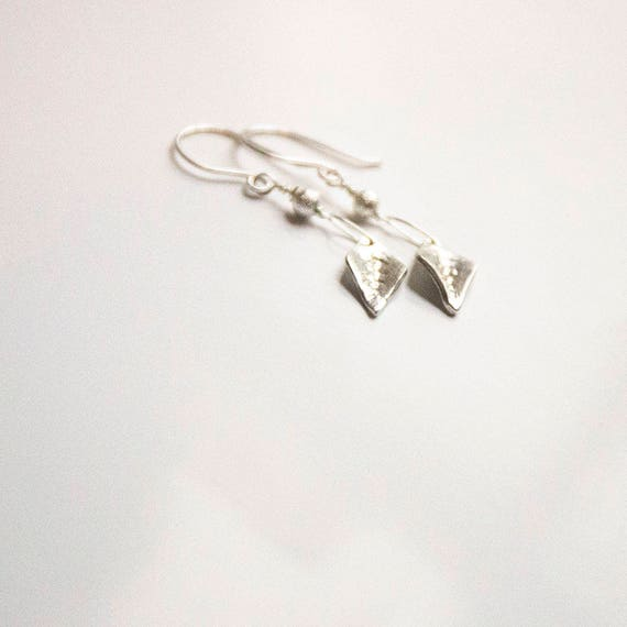 Pure fine silver handmade leaves on oversized handmade sterling silver earwires