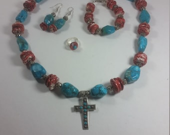 Stunning Turquoise and Spiny Coral with Bali Silver and Vintage Cross Jewelry set