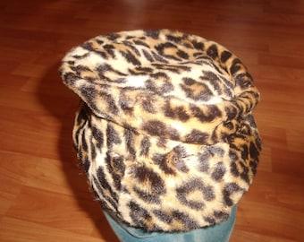 vintage ladies hat faux leopard print