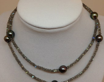 Cultured Tahitian Pearl Necklace with Labradorite Beads, 14k gold (MM3)