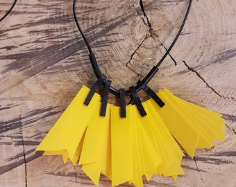 Yellow necklace, asymmetric pendant necklace, green necklace, minimalist necklace, yellow asymmetric necklace, free shipping, gift for her