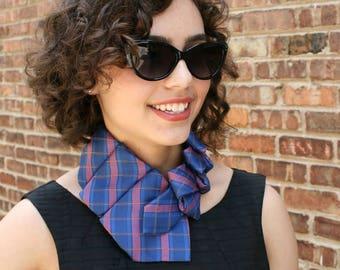 Necktie Necklace - Ascot Tie - Women's Necktie - Gift For Mom - Vintage Blue Striped Lauren Scarf. 41