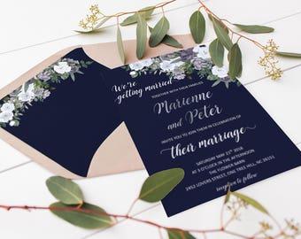 Navy Blue Wedding Envelope Liner 5x7 Envelopes Boho Envelope Liners Floral Envelope Liner Winter Envelopes Elegant Wedding Invitation Suite
