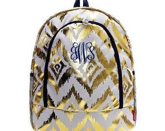 Monogrammed Backpack Personalized Gold Ikat White Backpack Personalized Backpack Kids Backpack Girls Backpack Boys Backpack