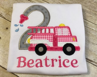 Girl Fire Truck Birthday T-Shirt
