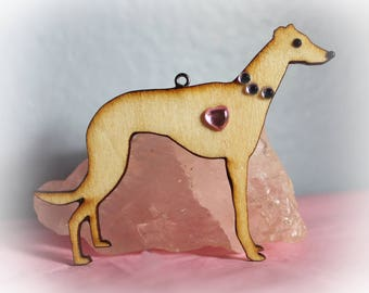 Greyhound Whippet Ornament Wood with Rhinestones