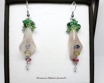 Sterling silver Rose Quartz Earrings /Calla Lily Flower Earrings /Pink floral earrings /Gift for her /Wedding Jewellery /Bridal Earrings