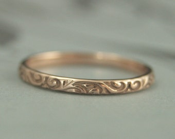 Rose Gold Patterned Wedding Band-Women's Red Gold Band--14K Rose Gold Ring-Flourish Ring-Swirl Ring-Antique Style Ring-Pink Gold Band