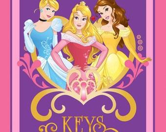 "Disney Princess Fabric Panel - Keys to the Kingdom Cinderella, Belle, Aurora 100% cotton Fabric by the panel 35""x43"" (SC236)"
