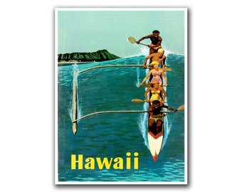 Retro Poster Hawaii Travel Art Hawaiian Home Decor Sports Wall Art Print (H160)