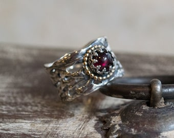 Silver ring, garnet Band, braided silver ring, wide silver ring, boho ring, unique silver engagement ring, gypsy ring - On That Day R2257