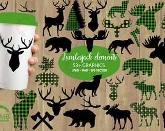 Lumberjack clipart, GREEN Buffalo plaid clipart, 54 Forest animal silhouettes, Moose, Trees, Wolf, Deer, Bear, Antlers,  AMB-2360
