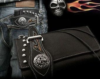 Leather Bikers Long Wallet Metal Concho  / K04D09