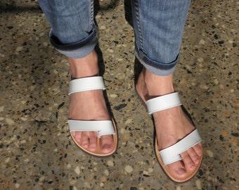 SALE SALE SALE White Leather Slip on Sandals