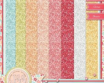 On Sale 50% Off Tea For Two 12x12 Glitter Sheets Digital Scrapbook Kit - Digital Scrapbooking