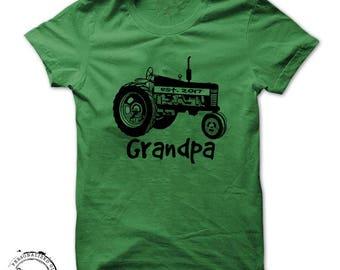 Christmas shirt gift for Grandpa, Tractor shirt for Dad Farming farmer personalized shirts established Birthday message tees milestone 90th