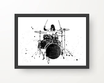 Drummer on Drumkit Black & White Ink illustration - Digital Print Music Poster - A4, A3