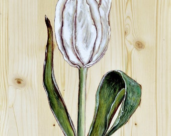WHITE TULIP & DRAGONFLY