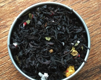 Yule Tea - Christmas Tea - Custom Tea Blend - Loose Leaf Tea - Black Tea - Candy Cane - Chestnut - Cinnamon - Peppermint - Clove - Orange