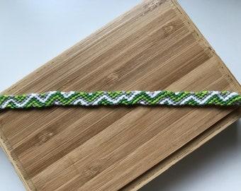 Green and white Friendship Bracelet