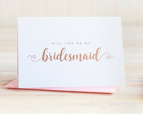 Will You Be My Bridesmaid Card Rose Gold Foil ask bridesmaid proposal gift box bridal party card bridesmaid invitation blush pink heart box