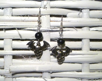 Spooky! Silver Plated Crystal Winged Skull Earrings with Freshwater Black Tahitian Pearls - Perfect for Halloween