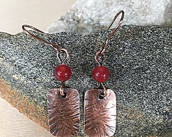 Copper - Red Jade square - beaded earrings - Handmade - metal - Drop - dangle disc - earrings