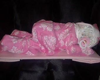 Sleeping Baby Girl diaper cake